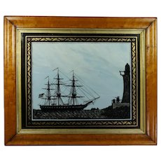 19th Century Reverse-Painted Glass Picture Sailing Ship Silhouette USS Perseverance