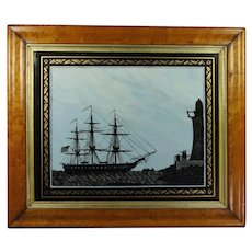 Antique Marine Landscape Reverse-Painted Glass Picture Ship Silhouette USS Perseverance