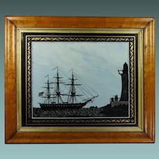 Antique Reverse-Painted Glass Picture Ship Silhouette USS Perseverance