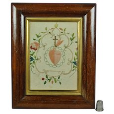 Antique French Soft Pastel Needlework On Paper Colifichet Sacred Heart Ex Voto Flowers Georgian Circa 1800