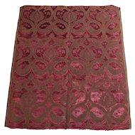 Rare 17th Century Panel of Crimson Italian Velvet Brocade Circa 1700 With Provenance Mentmore Towers
