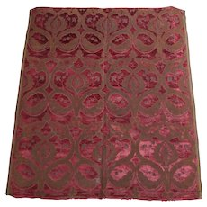 Rare 17th Century Panel of Crimson Italian Velvet Brocade Circa 1700 With Provenance Mentmore Towers