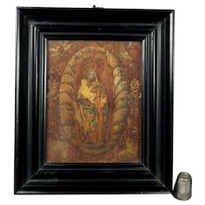17th Century Straw Work Icon Picture Marquetry Religious Panel Madonna and Child Circa 1666 Charles II Period