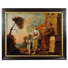 18th Century Religious Reverse Painting on Glass Georgian Circa 1770 Museum Condition Hagar Ishmael