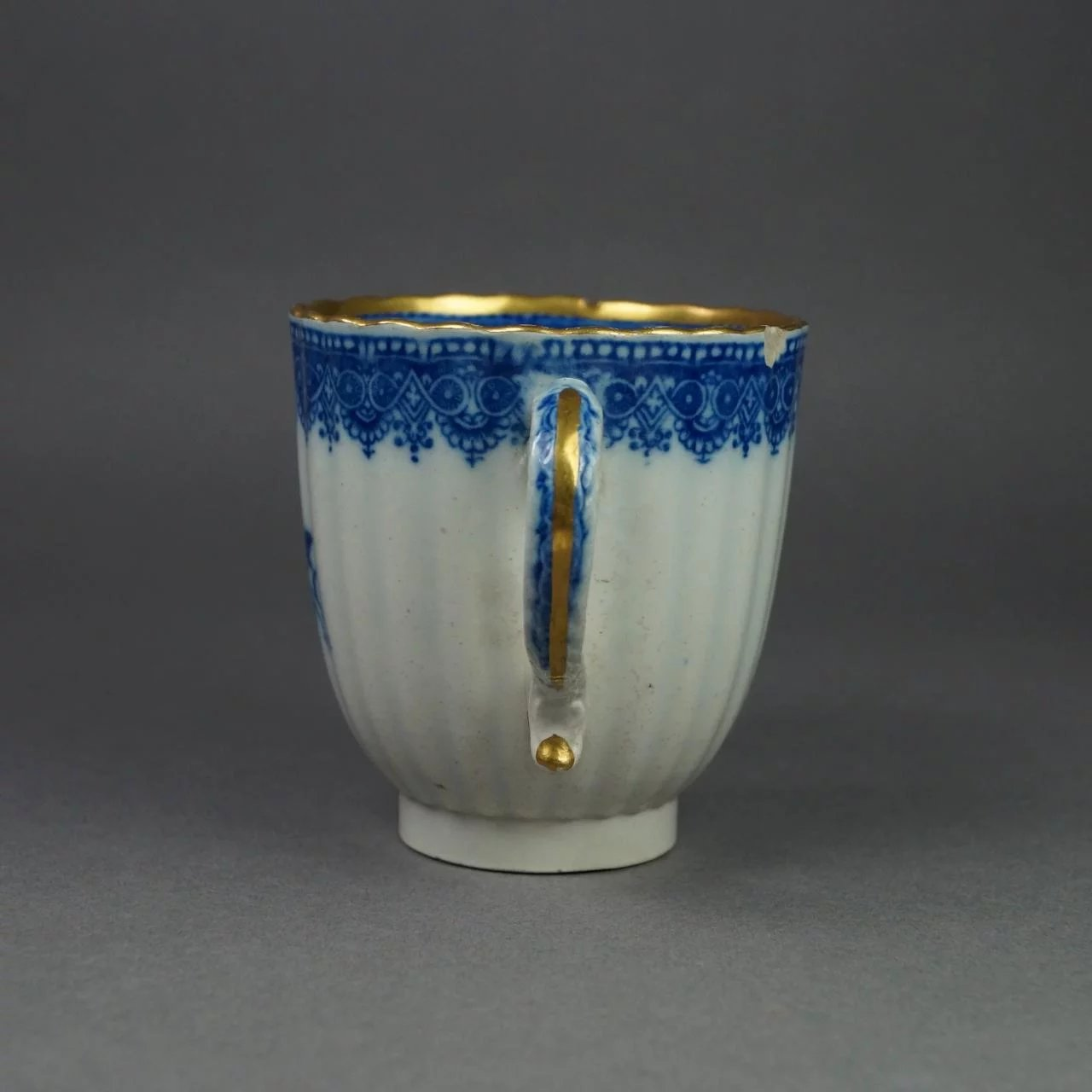 18th Century Cup Blue And White Transferware Pearlware