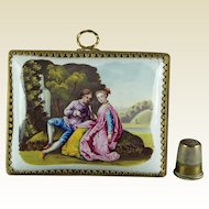 18th Century Miniature Battersea Enamel Plaque Picture Circa 1765 Georgian