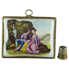Antique 18th Century Miniature Battersea Bilston Enamel Plaque Picture Circa 1765 Georgian Doll Size