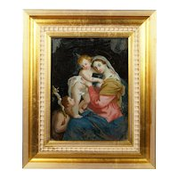 Antique 18th Century Georgian Reverse Painted Glass Picture Virgin with Child Circa 1800, Modern Frame