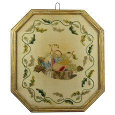 Antique Georgian Silkwork Needlework Picture Rare Still Life Fruits Gilt Frame Circa 1805