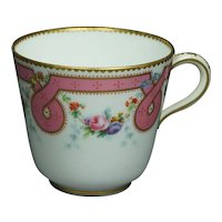 Antique 19th Century Minton Porcelain Tea Cup Pink Ribbon Sevres Style Circa 1860