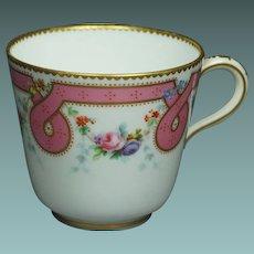 Antique 19th Century Minton Porcelain Tea Cup Pink Ribbon Sevres Style Circa 1860