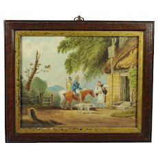 Antique Miniature Rural Landscape Watercolor Painting Dogs and Horses Circa 1810