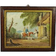 Antique Miniature Watercolor Painting Dogs and Horses Circa 1810