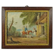 Antique Miniature Georgian Watercolor Painting Rural Landscape Dogs and Horses Circa 1810