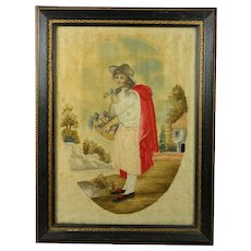 Antique Regency Silkwork Needlework Embroidery Picture English Circa 1810