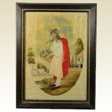 Antique Regency Silkwork Needlework Embroidery Picture English Circa 1810