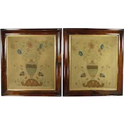 Antique Folk Art Theorem Pair Painted And Stenciled On Wool Floral Pictures Circa 1820 Georgian