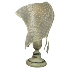 Regency Lace Cap Bonnet Embroidered Net Ground English 1820