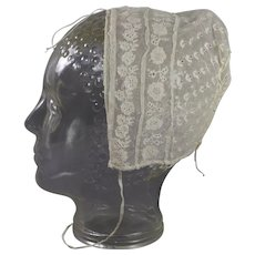 Early 19th Century Childrens Lace Cap Embroidered Net English Circa 1820 Georgian - Red Tag Sale Item