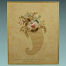 Antique Pin Prick Embroidery On Paper by Martha Honeywell American Circa 1820 RARE