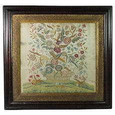 Antique Silkwork Embroidery Flowers Insects Georgian Circa 1760 Tapestry