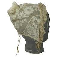 Early 19th Century Ladys Cap Bonnet Net Embroidered Regency English Circa 1820