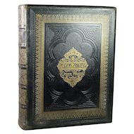 Huge Antique Religious Book Gilt Black Tooled Leather Tome Circa 1870