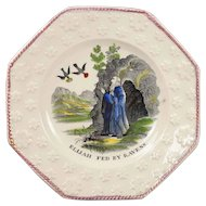 Antique Childrens Plate Pearlware Elijah Fed By Ravens Circa 1830