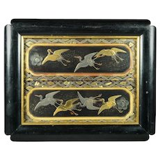 Antique Chinoiserie Lacquer Picture Black Gold Cranes Circa 1850