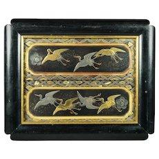 Antique Chinoiserie Lacquer Picture Black Gold Cranes Circa 1850