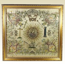 17th Century Needlework Silk Metallic Embroidery Salvator Mundi Circa 1700