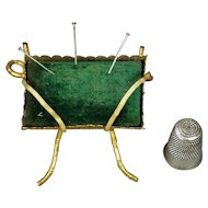 Antique Pin Cushion Green Velvet Gilt Ormolu Napoleon III Circa 1860