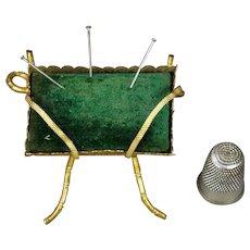 Antique Pin Cushion Green Velvet Gilt Ormolu Napoleon III Circa 1860