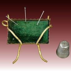 19th Century French Pin Cushion Green Velvet Gilt Ormolu Napoleon III Circa 1860