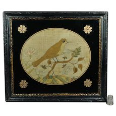 Antique 18th Century Silkwork English Bird, Small Georgian Example, Circa 1780