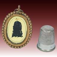 Antique Doll Size Georgian Verre Eglomise Portrait Silhouette Locket Pendant Circa 1790