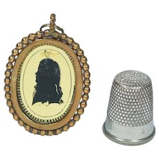 Antique Doll Size Georgian Verre Eglomise Portrait Silhouette Locket Pendant Circa 1790