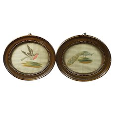 Antique Pair Miniature Silkwork Bird Embroideries Georgian Circa 1780