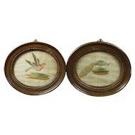 Georgian Pair Miniature Needlework Embroidery Birds English Circa 1780s