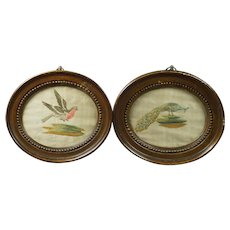Georgian Pair Miniature Needlework Embroidery Birds English Circa 1780s