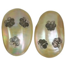 Antique 19th Century Chinese Export Silver And Mother of Pearl Abalone Butterfly Dish Pair AF Circa 1880