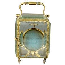 19th Century French Glass Pocket Watch Holder Display Vitrine Blue Silk Beveled Glass 1870 - Red Tag Sale Item