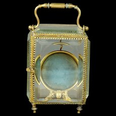 19th Century French Glass Pocket Watch Holder Display Vitrine Blue Silk Beveled Glass 1870 - Red Tag Sale Item