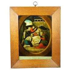 Early 19th Century Reverse Glass Print English P Stampa Circa 1800 Later Frame