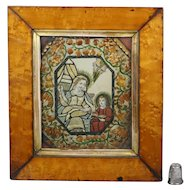 Antique 18th Century Religious Tinsel Print Collage Silk, Paper and Straw Work Dressed Print Circa 1790 Georgian