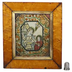 Antique 18th Century Silk, Paper and Straw Work Collage Picture,  Dressed Print Saint Anne Circa 1790 Georgian