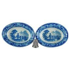 Antique Toy Miniature Pearlware Dish x 2 Blue And White Transferware Georgian Circa 1810 AF