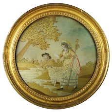 18th Century Silkwork Embroidery Pastoral Landscape Needlework Picture Circa 1780