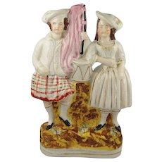 Circa 1860 Staffordshire Figure of Scottish Couple Early
