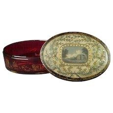 Antique Georgian Cranberry Glass Casket Toilet Box Casket Rare Circa 1815